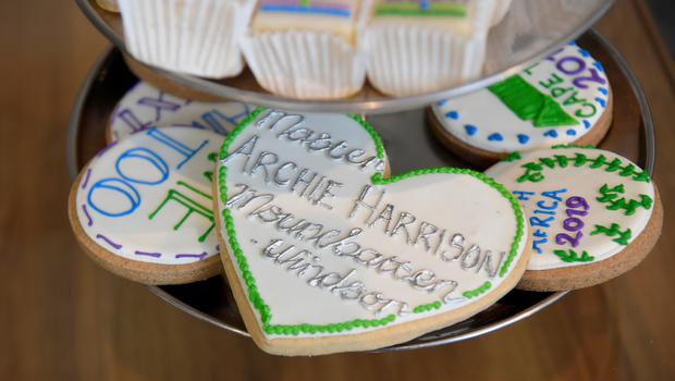 A personalised biscuit for the Duke and Duchess of Sussex's son Archie during a meeting with Archbishop Desmond Tutu (Toby Melville/PA)