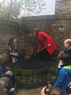 Liberal Democrat leader Jo Swinson was checking on a newly-planted tree as she highlighted the party's pledge to plant 60 million trees a year (Shaun Connolly/PA)