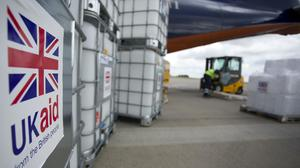 Cargo from UK Aid waiting to be loaded on to an Antonov An-12B aircraft at East Midlands Airport (Simon Cooper/PA)