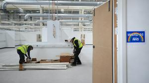 Workers have transformed an empty unit close to the Nissan car plant into a 460-bed facility which could be ready to take patients at the end of the month (Owen Humphreys/PA)