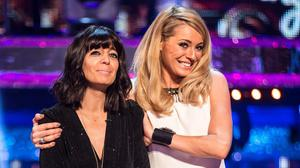 Tess Daly gives Claudia Winkleman a hug during the Strictly Come Dancing live show