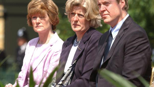 Lady Sarah McCorquodale (left), Lady Jane Fellowes and Earl Spencer (Fiona Hanson/PA)