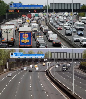 The M25 between junctions 12 and 13 (Andrew Matthews/Steve Parsons/PA)