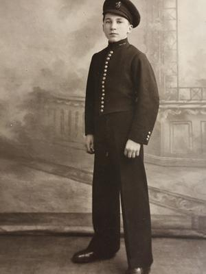 Mr Jenkins on his first day as a bell boy for Cunard (Family Handout/PA)