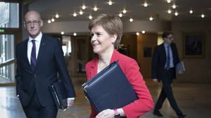 First Minister Nicola Sturgeon arrives ahead of First Minster's Questions (Jane Barlow/PA)