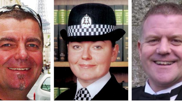 (l-r) Clutha pilot Captain David Traill with crew member Constable Kirsty Nelis and Constable Tony Collins (Police Scotland/PA)