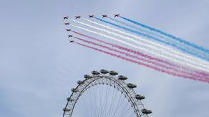 The Royal Air Force Red Arrows are often seen at big national occasions (Marc Ward/PA)