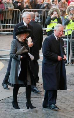 The Prince of Wales and Duchess of Cornwall at the memorial service