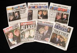 The front pages of the daily papers outline the media interest in the Prince of Wales and his long-term companion Camilla Parker Bowles leaving the Ritz Hotel in London (PA)