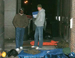 Prince William and Centrepoint CEO Seyi Obakin preparing for a night sleeping rough in freezing temperatures in central London for Centrepoint in 2009 (Centrepoint/PA)