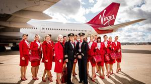 Captain Lucy Tardrew (centre left) with an all-female aircrew, before they prepare to fly from London Gatwick to Orlando on flight VS15 (John Nguyen/PA)