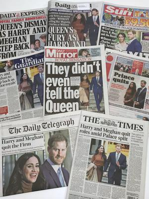 The front pages of the UK national newspapers in the wake of the Sussexes' bombshell announcement (PA)