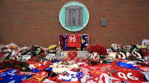 A memorial at Anfield for the Hillsborough disaster (Nigel French/PA)