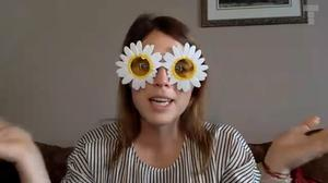 Eugenie put on a pair of funny glasses during her video chat. Teenage Cancer Trust.