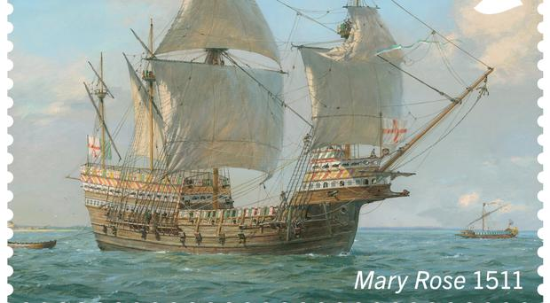 The oldest ship featured is the Mary Rose (Royal Mail/PA)