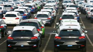New VW cars waiting on the docks near Sheerness in Kent (Gareth Fuller/PA)