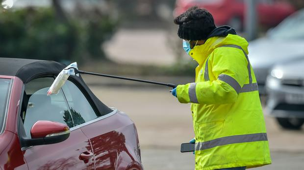 Surge testing at The Mall in Cribbs Causeway, one of two sites in South Gloucestershire, after two cases of the Brazilian variant of coronavirus were identified in the area (Ben Birchall/PA)