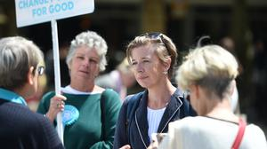 Katie Hopkins talks to Brexit Party supporters in Peterborough (PA)
