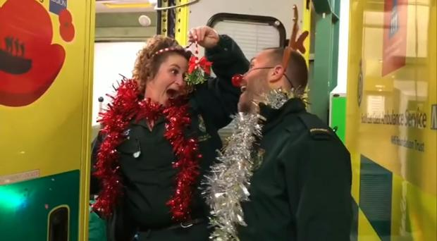 Worthing Ambulance Service's Christmas video (Jodie Gough/David Sneddon Plumb/Worthing Ambulance Service/PA)