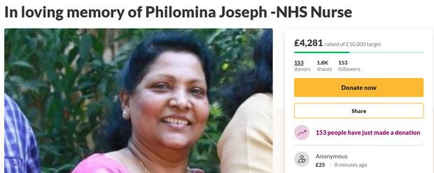 The GoFundMe page set up to help pay for the memorial of Philomina Cherian (GoFundMe)