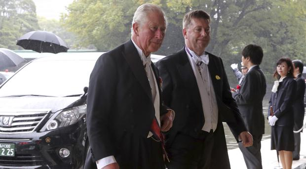 The Prince of Wales arrives at the Imperial Palace in Tokyo for the proclamation ceremony of Japan's Emperor Naruhito (Koji Sasahara/AP)