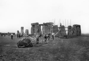 Photo dated 30/06/1959 of what is known to the Ministry of Works as No. 91 Station Stone undergoing preparations to be straightened at Stonehenge (PA)