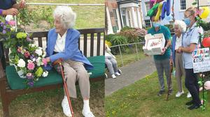 Joan Willet, 104, having completed her 17-mile hill walk challenge in July (British Heart Foundation)