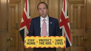 Health and Social Care Secretary Matt Hancock during a media briefing in Downing Street (PA)