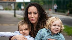 Stella Moris (centre) and sons, Gabriel (right) and Max (left) leave Belmarsh Prison after visiting her partner and their father, Julian Assange (Aaron Chown/PA)