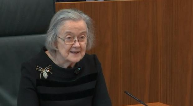 Lady Hale delivers the Supreme Court judgment while wearing a spider brooch (Supreme Court)