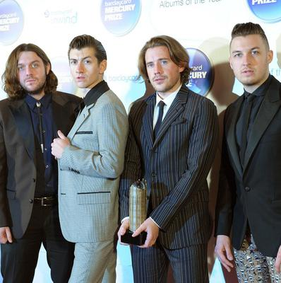 (Left to right) Nick O'Malley, Alex Turner, Jamie Cook and Matt Helders of Arctic Monkeys arriving at the Barclaycard Mercury Music Prize ceremony at the Roundhouse, Camden.
