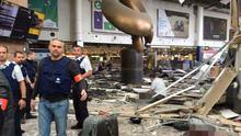 The aftermath of the explosions at Brussels Airport