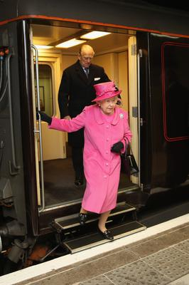 The Queen and Duke of Edinburgh arrive at Birmingham New Street Station on the Royal Train in 2015 (Christopher Furlong/PA)