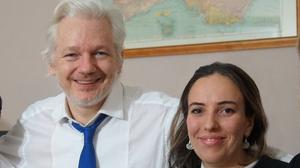 Julian Assange (centre) and his partner Stella Moris (second from right) (Wikileaks/PA)