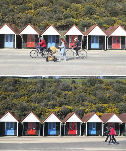 Composite of photos of the seafront in Bournemouth taken on 23/03/21 (top) and the same view on 24/03/20 (bottom), the day after Prime Minister Boris Johnson put the UK in lockdown (Andrew Matthews/Steve Parsons/PA)
