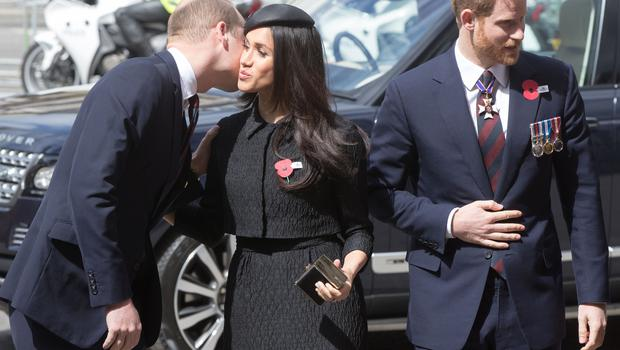 The Duke of Cambridge greets Meghan Markle and Prince Harry at the Anzac Day service (Jonathan Brady/PA)