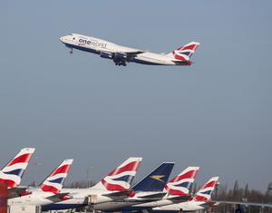 A British Airways plane takes off at Heathrow Airport (Steve Parsons/PA)