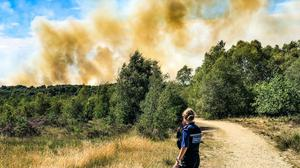 Smoke from a blaze that began on Chobham Common (Surrey Police)