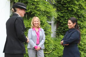 Home Secretary Priti Patel (right) meets Chief Constable of Sussex Police Jo Shiner (left) and PCC Katy Bourne (Gareth Fuller/PA)