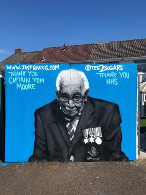 Graffiti artist Tee2Sugars paid tribute to the NHS fundraiser with a mural in Merthyr Tydfil, South Wales (Tee2Sugars/PA)