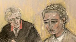 Court artist sketch by Elizabeth Cook of actress Amber Heard (Elizabeth Cook/PA)