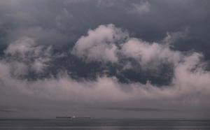 Storm clouds form over Whitley Bay in the north east of England (Owen Humphreys/PA)