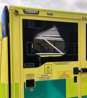 An ambulance which was attacked over the weekend (North East Ambulance Service NHS Foundation Trust/Twitter)