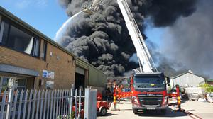 The scene of a fire on the Sankey Valley industrial estate in Newton-le-Willows (@MerseyFire/Twitter/PA)