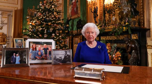 The Queen records her annual Christmas broadcast at Windsor Castle in Berkshire
