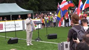 Michael Sheen delivers an address at the opening of the 2019 Homeless World Cup in Cardiff (Max McLean/PA)