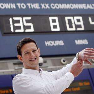 Swimmer Michael Jamieson unveiled the official Glasgow 2014 Countdown Clock in the city's Central Station
