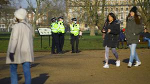 Police presence before a proposed anti-lockdown protest in Clapham Common, London (Aaron Chown/PA)