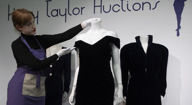 An evening gown worn by Diana, Princess of Wales, when she danced with John Travolta at the White House on show at Kerry Taylor Auctions in London (David Mirzoeff/PA)