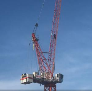 Alex Sidney climbed a crane in Norwich as part of a protest by Extinction Rebellion against climate inaction. (Extinction Rebellion/ PA)